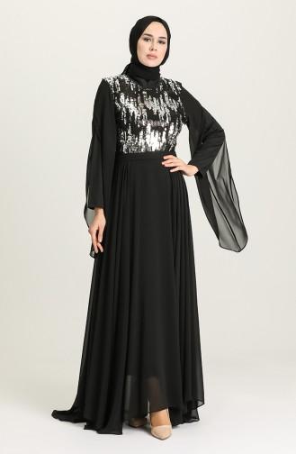 Payetli Abiye Elbise 0957-03 Siyah Gümüş 0957-03