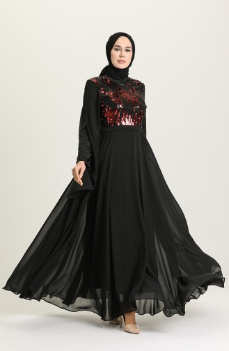 Claret Red Hijab Evening Dress 0957-05