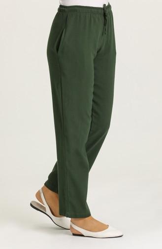 Şile Bezi Cepli Pantolon 14001-08 Koyu Yeşil 14001-08