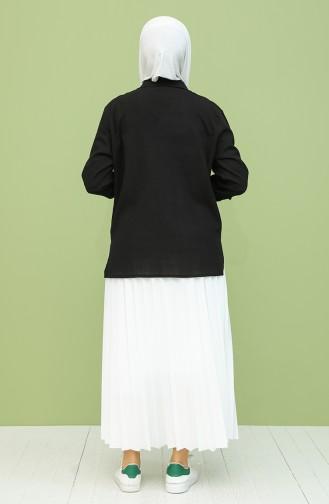 Şile Bezi Düğmeli Gömlek 21211-02 Siyah 21211-02