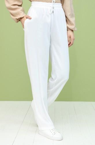 Beli lastikli Pantolon 0158-06 Beyaz