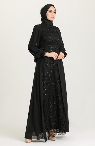 Payetli Abiye Elbise 5408-02 Siyah
