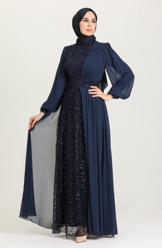 Dunkelblau Hijab-Abendkleider 5408-03