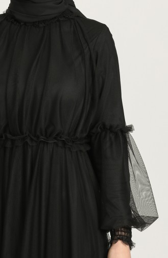 Tül Abiye Elbise 5474-02 Siyah