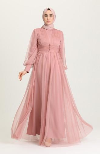 Powder Hijab Evening Dress 5478-02