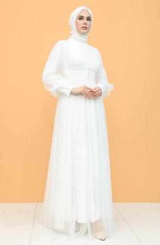 Düğmeli Tül Abiye Elbise 5478-03 Beyaz
