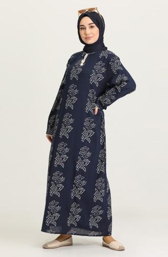 Navy Blue Hijab Dress 32201A-02