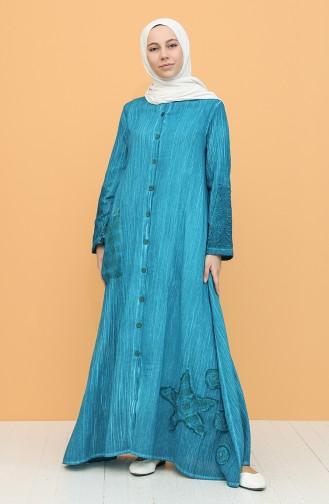 Şile Bezi Boydan Düğmeli Elbise 92207-02 Petrol