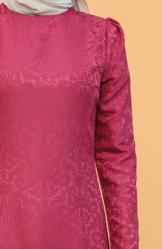 Büzgü Detaylı Jakarlı Elbise 3270-02 Fuşya