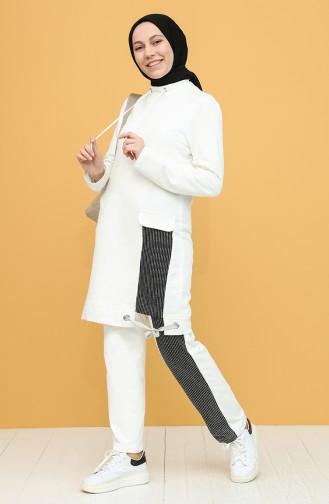 Garnili Tunik Pantolon İkili Takım 8419-01 Ekru 8419-01