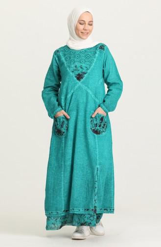 Grün Hijap Kleider 92206-03