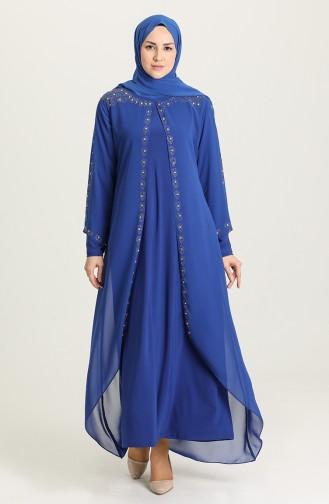 فساتين سهرة بتصميم اسلامي أزرق 5066-03