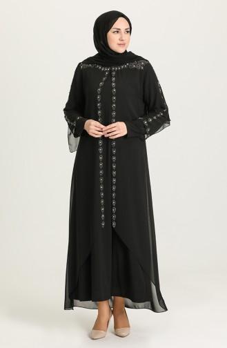 Büyük Beden Taş Baskılı Abiye Elbise 5066-05 Siyah 5066-05