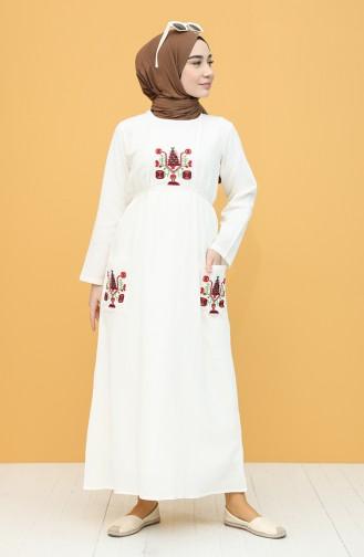 Şile Bezi Nakışlı Elbise 22205-05 Krem 22205-05