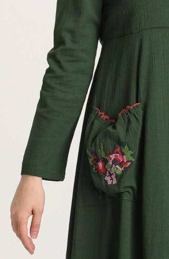 فستان أخضر داكن 22215 -01
