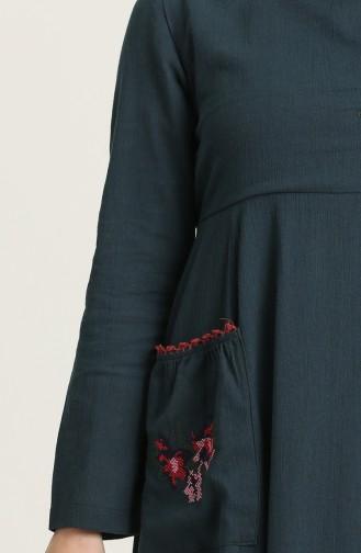 فستان أزرق زيتي 22215 -08