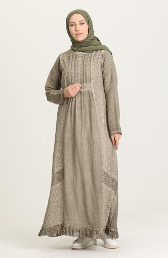 فستان بني مائل للرمادي 92210-04