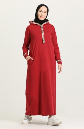 Claret Red Hijab Dress 4127-04