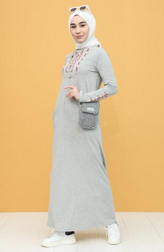 Gray Hijab Dress 4049-04