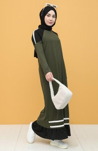 Khaki İslamitische Jurk 4101-02