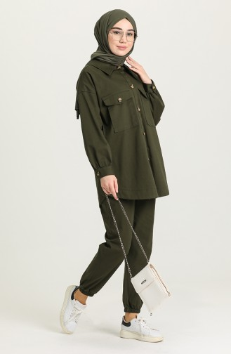 Gabardin Kumaş Tunik Pantolon İkili Takım 4060-02 Haki 4060-02