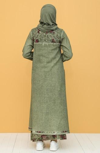 Şile Bezi Cepli Elbise 92206-06 Haki