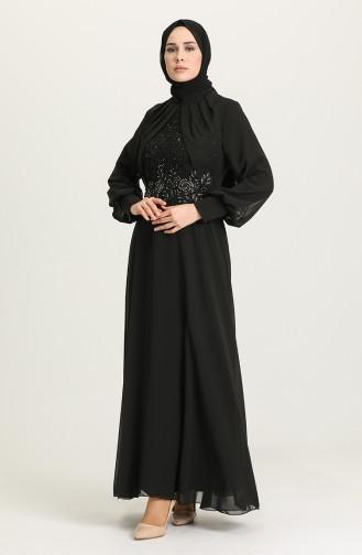 Payet Detaylı Abiye Elbise 52785-02 Siyah