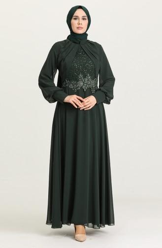Green Hijab Evening Dress 52785-05