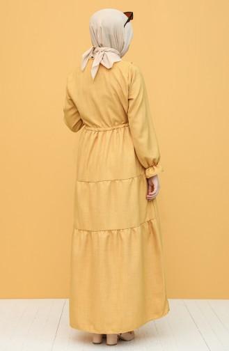 Mustard Hijab Dress 21Y8257-06