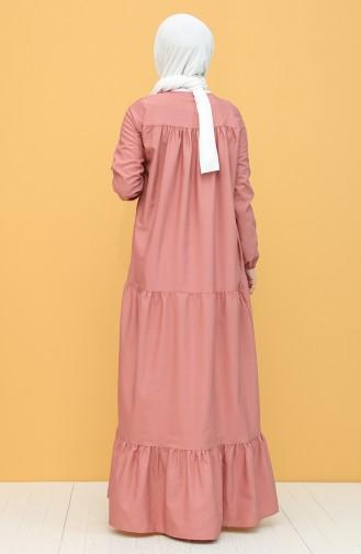 فستان زهري باهت 7288-07