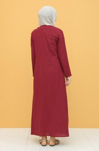 Claret Red Hijab Dress 0004-08