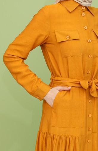 فستان أصفر خردل 8301-02