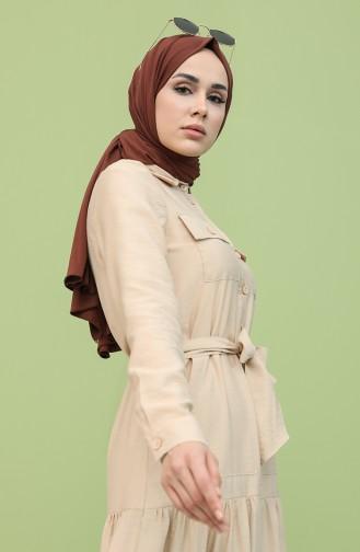 Boydan Düğmeli Kuşaklı Elbise 8301-10 Bej