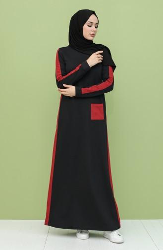 Garnili Cepli Elbise 3262-01 Siyah Bordo