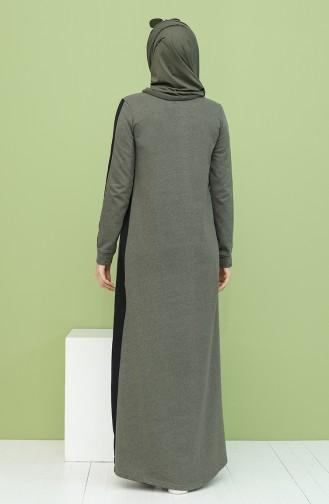 Garnili Cepli Elbise 3262-02 Haki Siyah