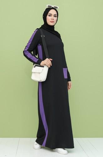 Garnili Cepli Elbise 3262-05 Siyah Mor