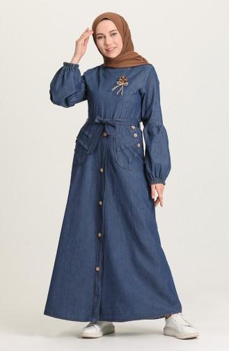 Kuşaklı Kot Elbise 6195-01 Lacivert