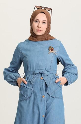 Kuşaklı Kot Elbise 6195-02 Kot Mavi