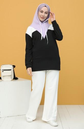 Kapüşonlu Sweatshirt 5076-01 Siyah Lila