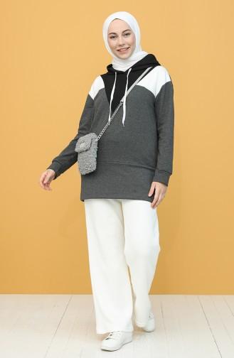 Kapüşonlu Sweatshirt 5076-03 Antrasit Siyah 5076-03