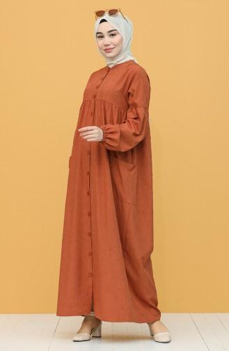 Boydan Düğmeli Elbise 21Y8339A-01 Taba