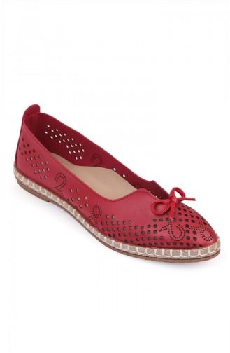 حذاء مسطح أحمر 3557-7