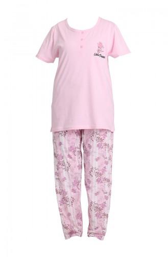 Büyük Beden Kısa Kol Pijama Takımı 202073 Pembe 202073