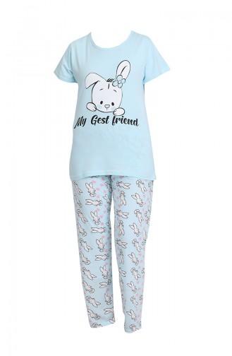 Bayan Pijama Takımı 3327 Mavi