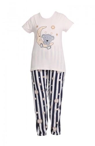 Bayan Pijama Takımı 3344 Krem