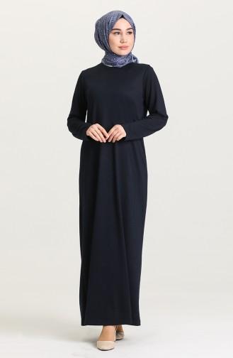 Sıfır Yaka Elbise 0076-01 Lacivert