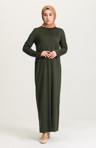 Sıfır Yaka Elbise 0076-04 Haki