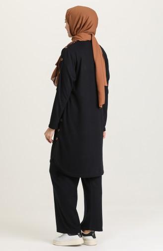 Büyük Beden Düğme Detaylı Tunik Pantolon İkili Takım 2680-07 Lacivert 2680-07