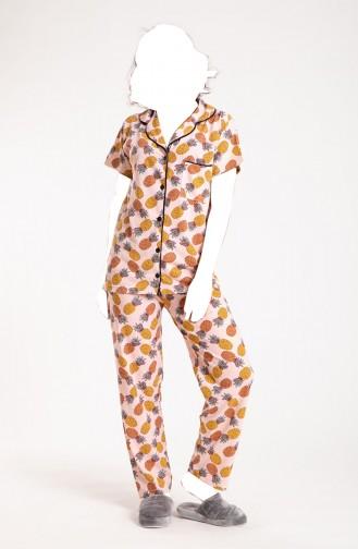 Kadın Düğmeli Pijama Takımı Ananas Desenli 108 SVS-8040 8040