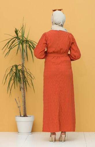 Kuşaklı Elbise 5361-04 Kiremit